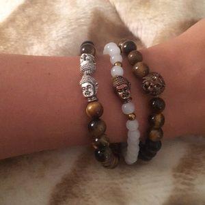 Jewelry - Bundle of precious stone buddha bracelets